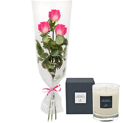 Three pink roses with scented candle