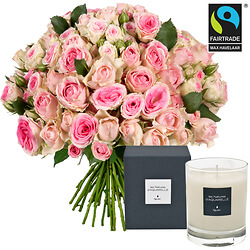'Sweetness' bouquet of roses with scented candle