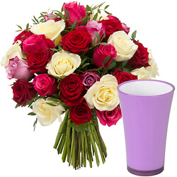 Bouquet I love you avec un vase parme