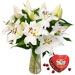 Weiße Lilien   Herz-Box