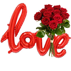 12 Long-stemmed red roses and loveballoons