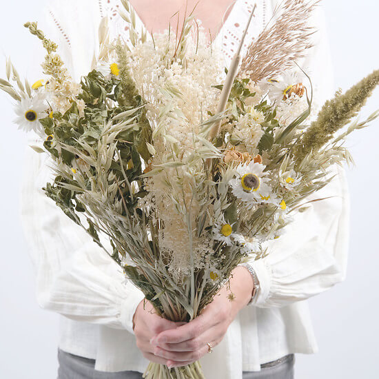 Fleurs séchées tons blancs